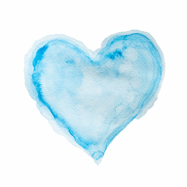 Aquarellblaue form des herzens Kostenlose Fotos