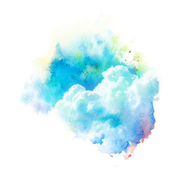 Aquarellillustration des himmels mit wolke. Premium Fotos