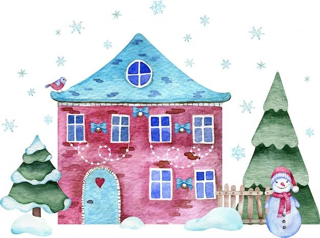 Aquarellillustration des hochroten ziegelsteinweihnachtshauses mit schneemann und fichte, snowbanks und fliegenschneeflocken. Premium Fotos
