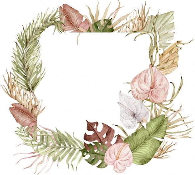 Aquarellillustration des quadratischen tropischen rahmens mit exotischen blättern und anthuriumblumen Premium Fotos