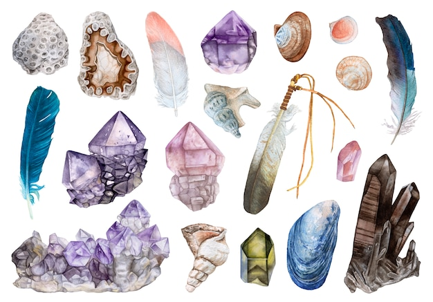 Aquarellkristalle, muscheln, federn lokalisiert. Premium Fotos