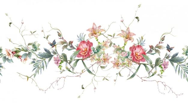 Aquarellmalerei des blattes und der blumen, nahtloses muster auf weißem hintergrund Premium Fotos