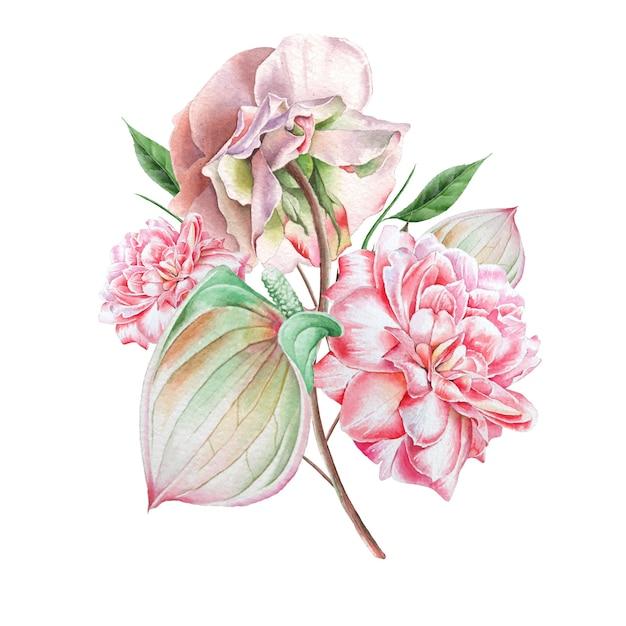 Aquarellstrauß mit blumen. rose. anthurium. illustration. handgemalt. Premium Fotos