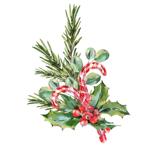 Aquarellweinlese-weihnachtskarte mit mistel, tannenzweig, blättern und beeren. Premium Fotos