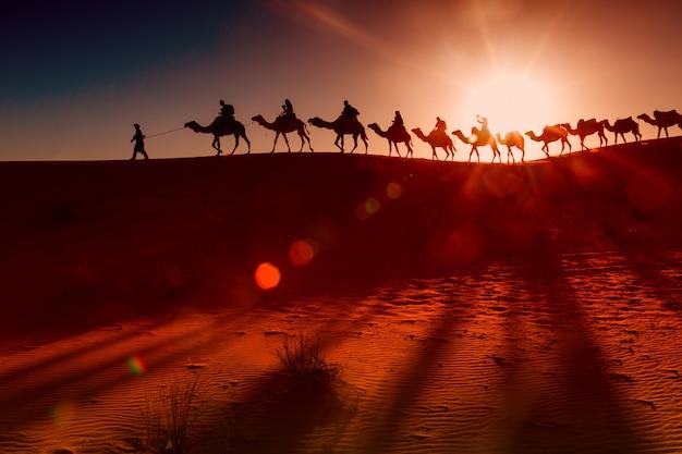Arabische menschen mit kamelkarawane Kostenlose Fotos