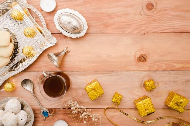 Arabischer teezeit-kopienraum der draufsicht Premium Fotos