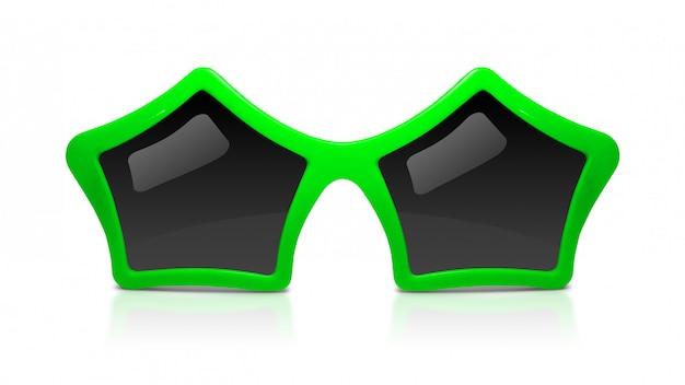 Arbeiten sie sonnenbrille mit der sternform um, die auf weißem hintergrund lokalisiert wird. Premium Fotos