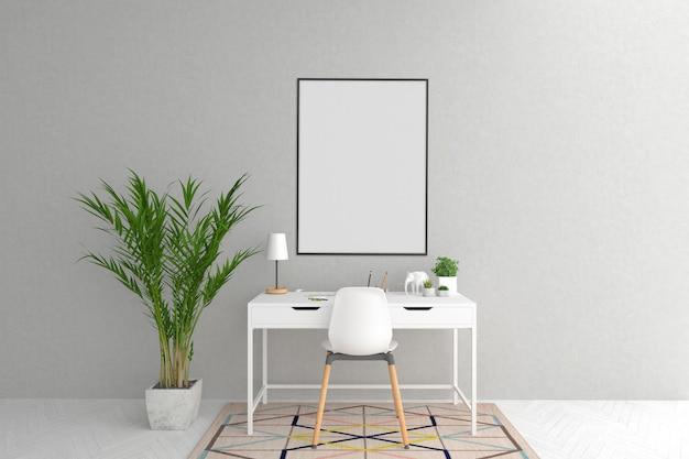 Arbeitsbereich im skandinavischen innengrafikmodell Premium Fotos