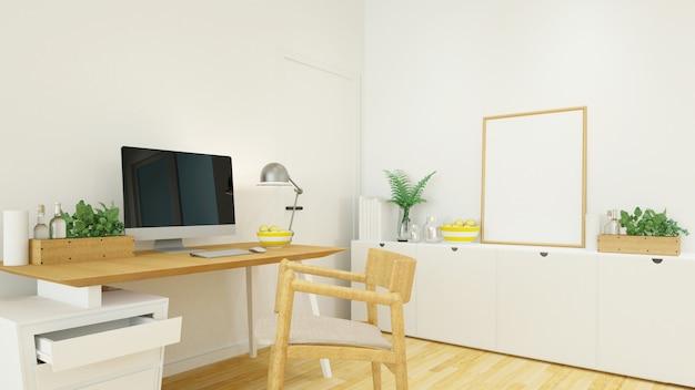 Arbeitsplatz im haus oder im büro - wiedergabe 3d Premium Fotos