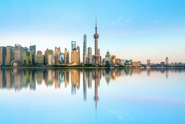 Architekturlandschaftsskyline shanghais lujiazui Premium Fotos
