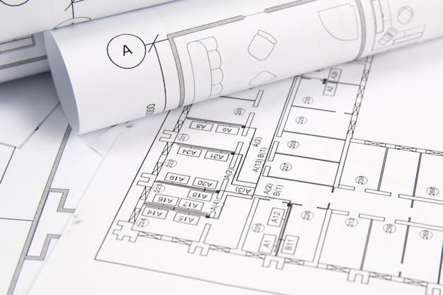 Architekturplan. technische zeichnungen und pläne. Premium Fotos
