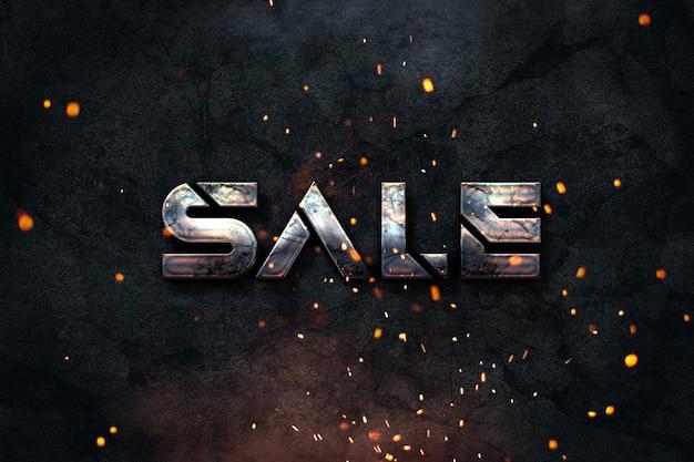 Artverkaufsfahne des schmutzes industrielle für e-shops oder social media-profile mit dunklem hintergrund und einem rostigen metallischen text Premium Fotos