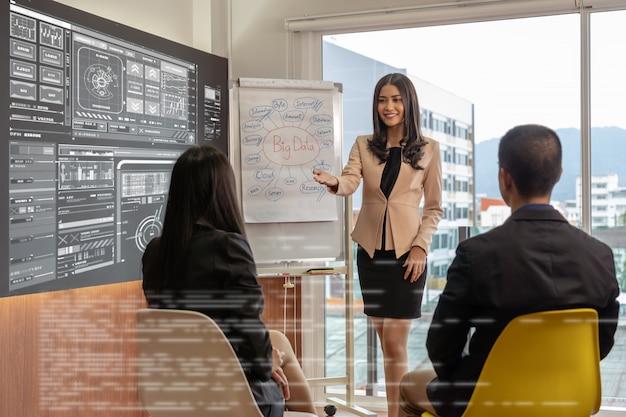 Asiatische busienfrau, welche die großen daten und den digitalen virtuellen schirm über dem diagramm darstellt Premium Fotos