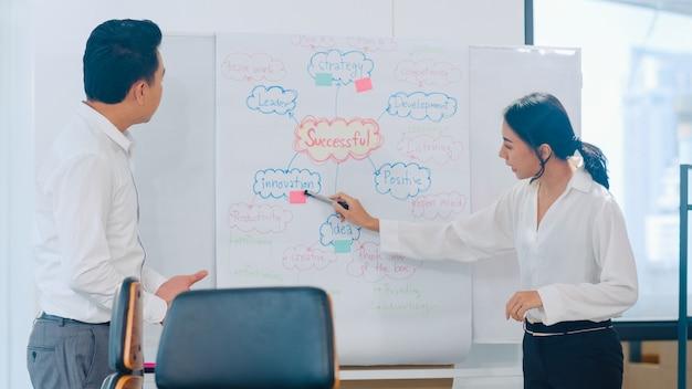 Asiatische geschäftsleute und geschäftsfrauen treffen sich mit brainstorming-ideen, um gemeinsam kollegen des geschäftspräsentationsprojekts zu planen und die erfolgsstrategie zu planen. Kostenlose Fotos