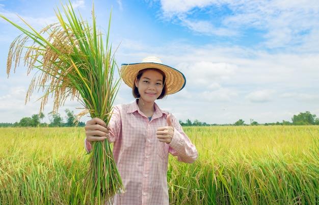 Asiatische landwirtfrauen, die hüte und rosa gestreifte hemden halten einen goldenen paddy tragen und den daumen für gute produktivität glücklich angehoben haben Premium Fotos