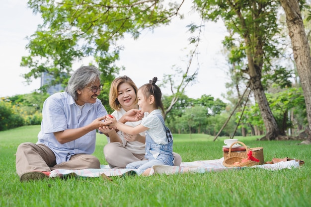 Asiatischer großvater und enkelkinder, die glückliche zeit haben, genießen picknick zusammen in der grünen rasenfläche des parks, die im sommer im freien ist Premium Fotos