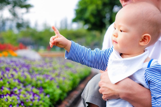 Asiatischer kleiner kleinkindjunge betrachtet und zeigt finger auf park im frühjahr. bringen sie das halten seines babysohns hervor, der das besichtigen des schönen blumengartens genießt Premium Fotos