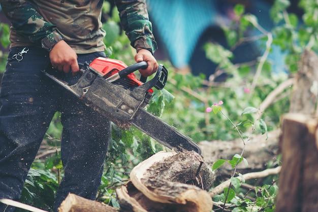 Asiatischer mann, der bäume unter verwendung einer elektrischen kettensäge schneidet Kostenlose Fotos