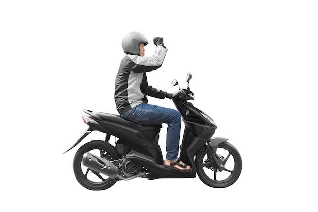Asiatischer motorradtaximann mit seinem motorrad Premium Fotos