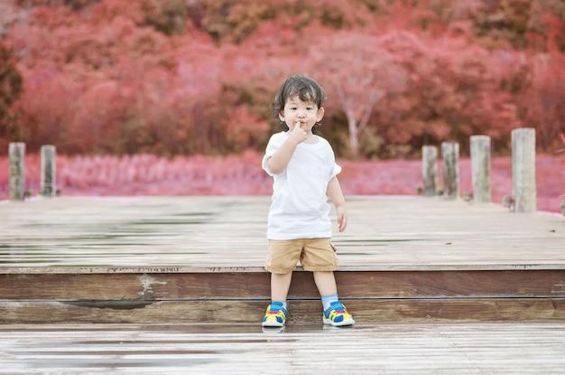 Asiatischer stand der nahaufnahme kinderauf hölzerner bahn im parkhintergrund Premium Fotos
