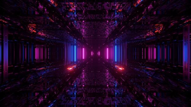 Atemberaubende aussicht auf bunte und gemusterte neonlichter in der dunkelheit Kostenlose Fotos