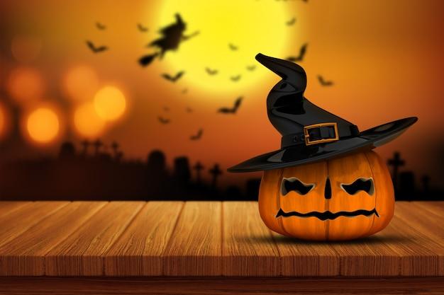 Auf einem holztisch mit einem defocussed gespenstischen friedhof bild im hintergrund übertragen von einer halloween-kürbis 3d Kostenlose Fotos