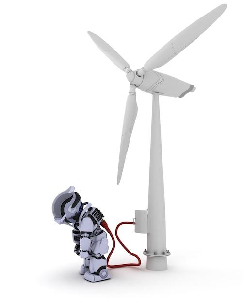 Aufladen des roboters durch windkraftanlage Kostenlose Fotos
