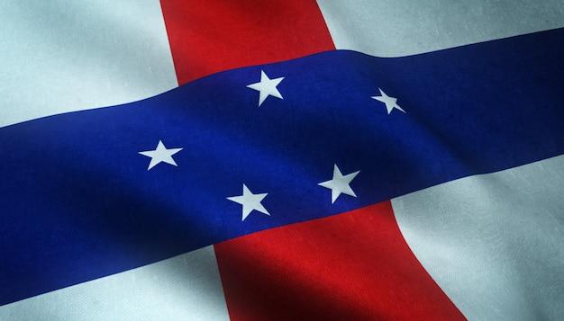 Aufnahme der wehenden flagge der niederländischen antillen mit interessanten texturen Kostenlose Fotos