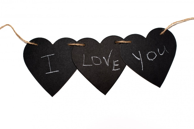 aufschrift ich liebe dich mit abstraktem herzen auf der