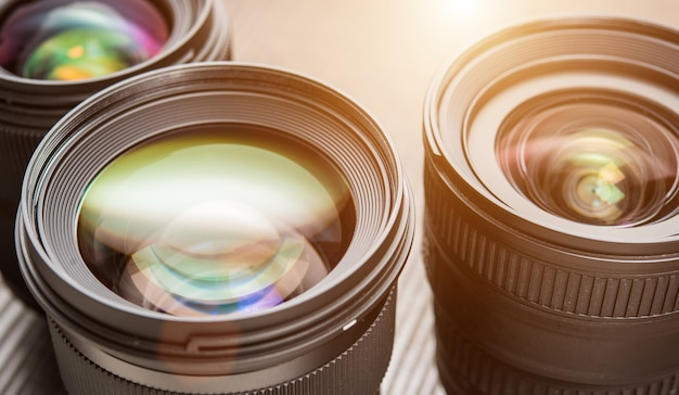 Austauschbare kameraobjektive. flare-effekt Premium Fotos