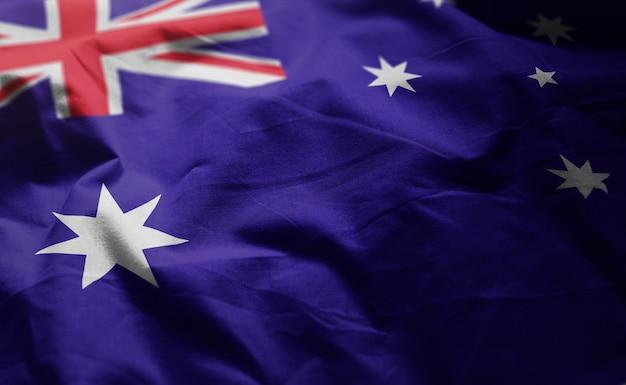Australien-flagge zerknittert nah oben Premium Fotos