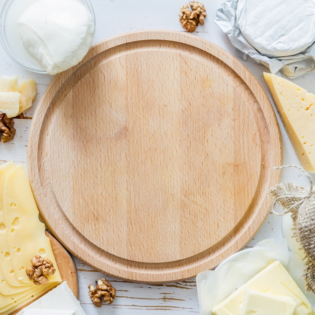 Auswahl an milch und milchprodukten Premium Fotos