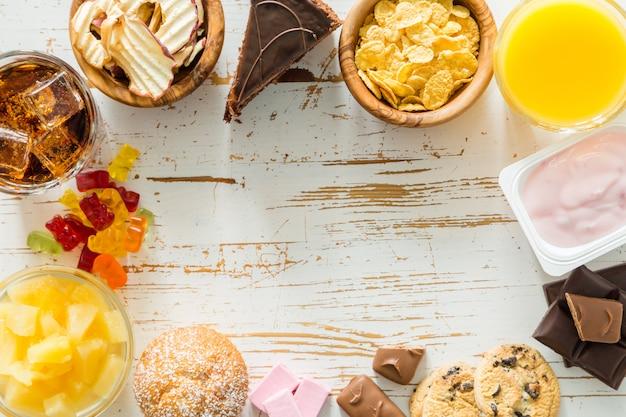 Auswahl an zuckerreichen speisen Premium Fotos