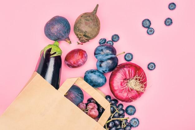 Auswahl von lila lebensmitteln Premium Fotos