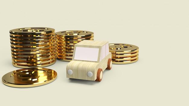 Auto holzspielzeug und goldmünzen für auto Premium Fotos