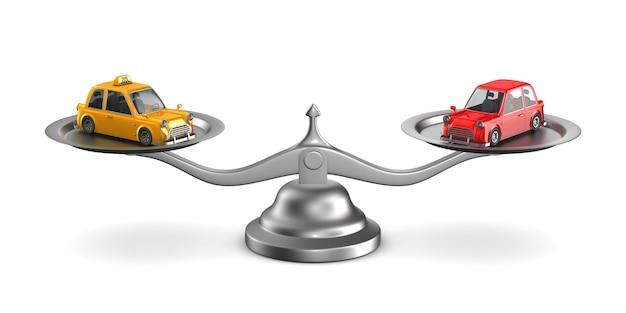 Auto und taxi auf waage. isolierte 3d-illustration Premium Fotos
