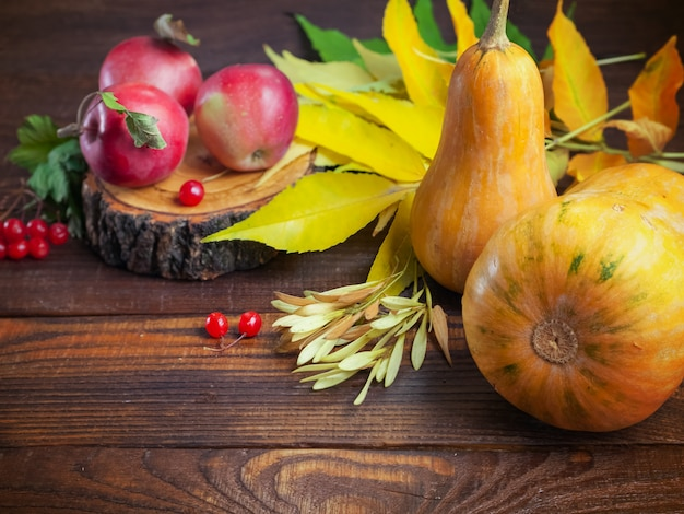 Autumn thanksgiving day pumpkin, äpfel, gelbes laub, viburnumbeeren, auf einem hölzernen strukturierten hintergrund Premium Fotos