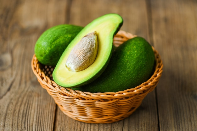 Avocado in einem korb auf einem holztisch Premium Fotos
