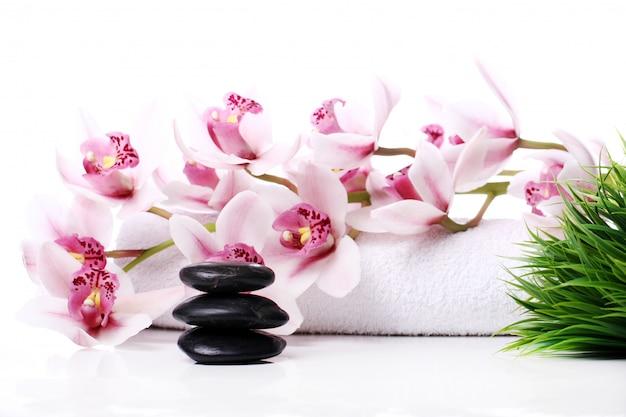 Badekurortsteine und schöne orchidee Kostenlose Fotos
