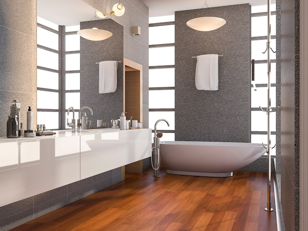 Badezimmer mit holzboden und steinfliesen Premium Fotos