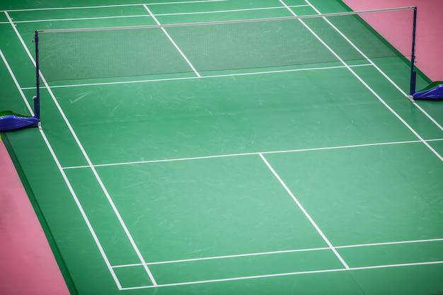 Badmintonplatz green floor standard im meisterturnier Premium Fotos