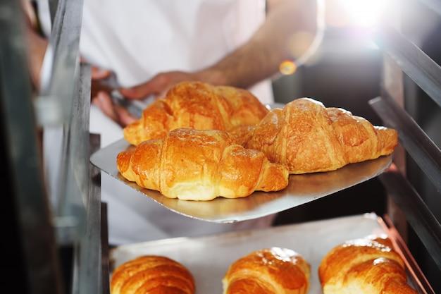 Bäcker, der ein tellersegment mit frisch gebackenen französischen hörnchen anhält Premium Fotos