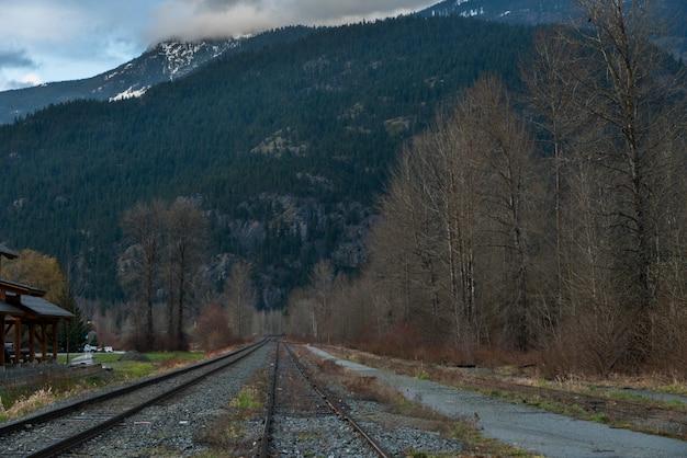 Bahnstrecke, die durch landschaft, pfeifer, britisch-columbia, kanada überschreitet Premium Fotos
