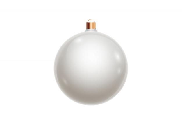 Ball der weißen weihnacht lokalisiert auf weißem hintergrund. weihnachtsschmuck, ornamente auf dem weihnachtsbaum. Premium Fotos