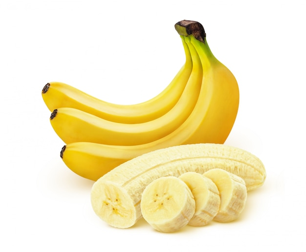 Banane. bündel bananen getrennt auf weißem hintergrund Premium Fotos