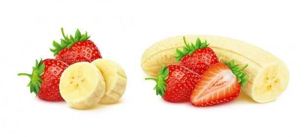 Banane und erdbeere lokalisiert auf weißem hintergrund mit beschneidungspfad Premium Fotos
