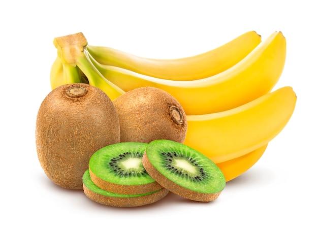 Banane und kiwi isoliert Premium Fotos