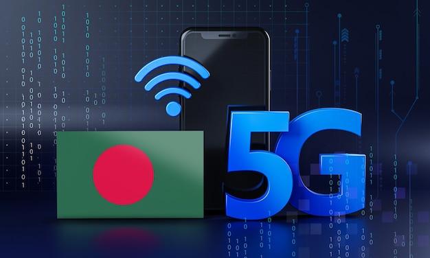 Bangladesch bereit für 5g-verbindungskonzept. hintergrund der 3d-rendering-smartphone-technologie Premium Fotos