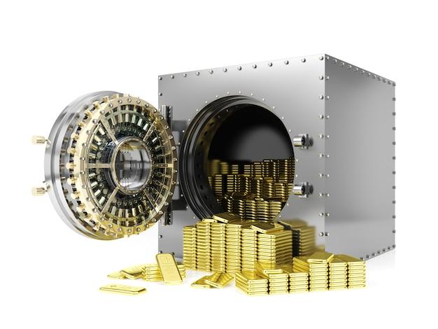 Bankschließfach und geöffnete banktresortür, die goldbarren, wiedergabe 3d aufdeckt Premium Fotos