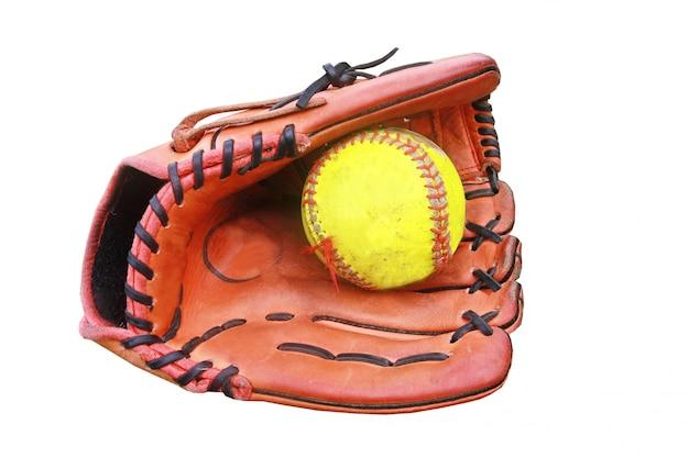 Baseballhandschuh halten einen ball Premium Fotos